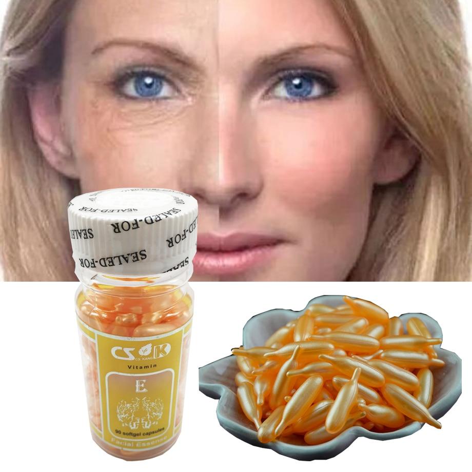 90pcs/bottle Vitamin E Essence Capsules Anti-aging Serum Spot Acne Removing Whitening Cream Essence VE Facial Freckle Capsule vitamin d3 emulsified dry 400 iu 100 capsules renevitol