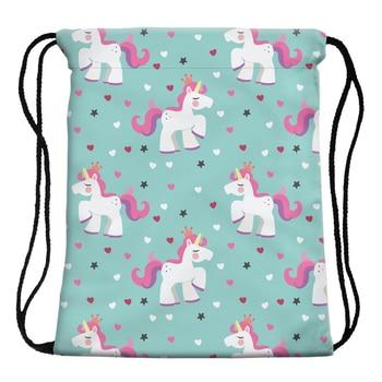 Drawstring Bag Unicorn Printed for Summer Travelling