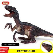 Oenux Newest Dinosaur World Park Velociraptor Raptor Blue Dinosaurs Action Figure Open Mouth Utahraptor Dinossauro Model Kid Toy