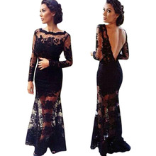 2017 New Design Lace Dress Style Vestido Women Lace Backless Bridesmaid Vestidos Gown Formal Party Prom Long Maxi Dress