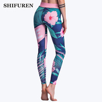 SHIFUREN Women Sport Yoga Leggings Floral Print Elastic Workout Training Tights Pants High Waist Gym Exercise