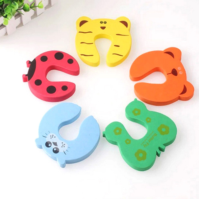 10pcs/Set Children Safety Cartoon Door Clamp Pinch Hand Security Stopper Cute Animal Baby Safety Door Stopper Clip Security 2019 2