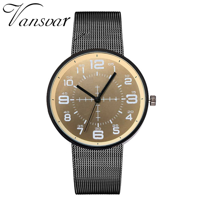 <font><b>2019</b></font> <font><b>Luxury</b></font> VANSVAR Casual Quartz Stainless Steel Band Newv Strap <font><b>Men</b></font> <font><b>Watch</b></font> Analog Wrist <font><b>Watch</b></font> <font><b>Ultra</b></font> <font><b>Thin</b></font> Creative Male Clock image