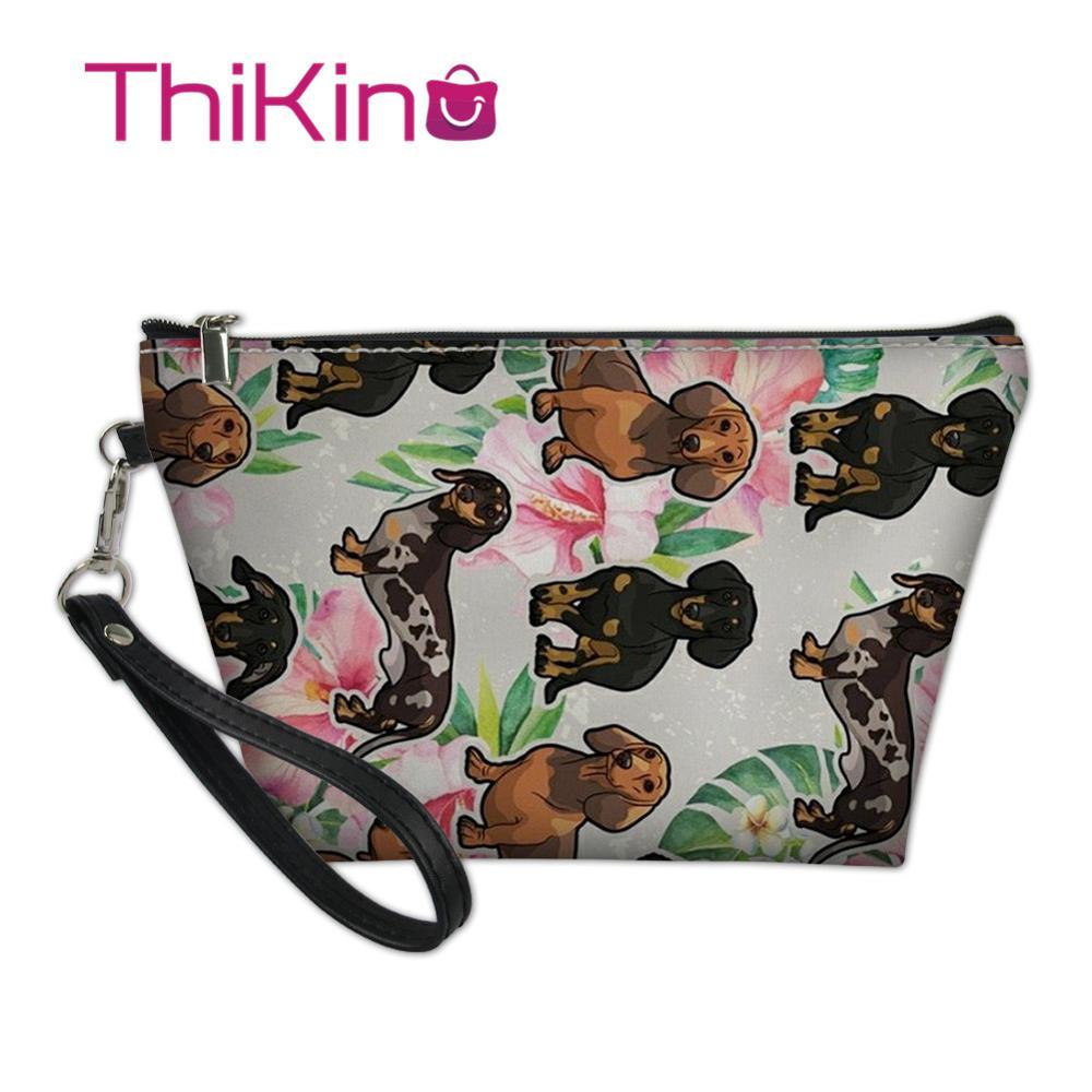 Thikin Dog Dachshund Makeup Bags for Women Girls Cosmetic Bag Travel Handbag Case Pouch Rock Storage Purse