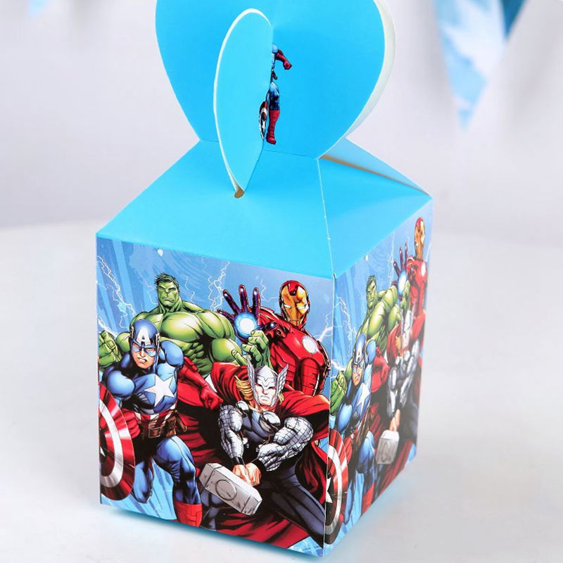 6pcs Super Hero Avengers Cartoon Candy Box Baby Shower Birthday Party Decorations Paper Kids Gift Box Packaging Party Favors