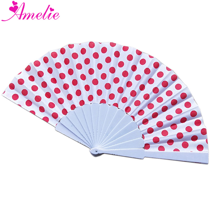 50pcs lot Summer New Fans Plastic Ribs Polka Dots Wedding Hand Fan Folding Fans Wedding Collections