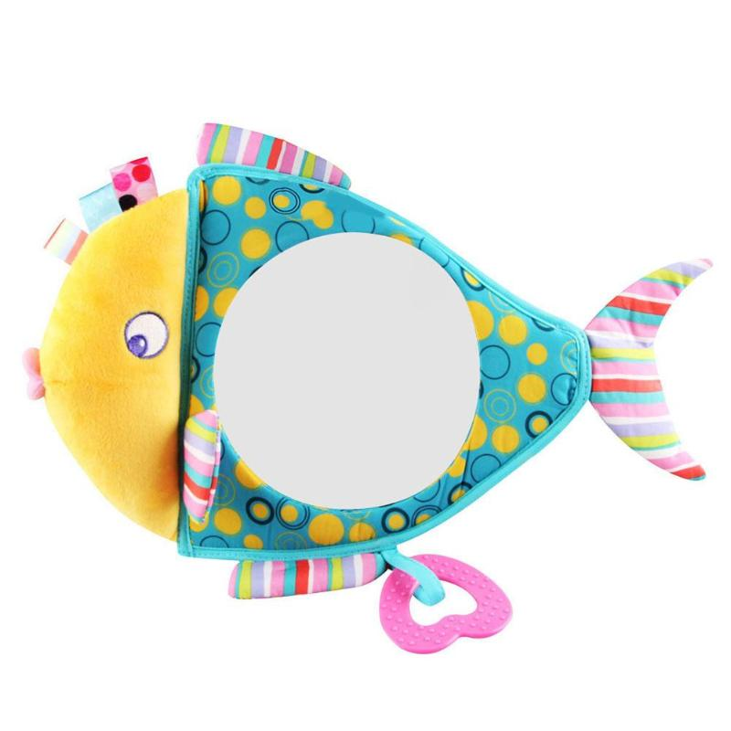 Adjustable Baby Car Mirror Car Safety View Back Seat Headrest Rearview Mirror Fish Plush Safety View Monitor With Teether Toys