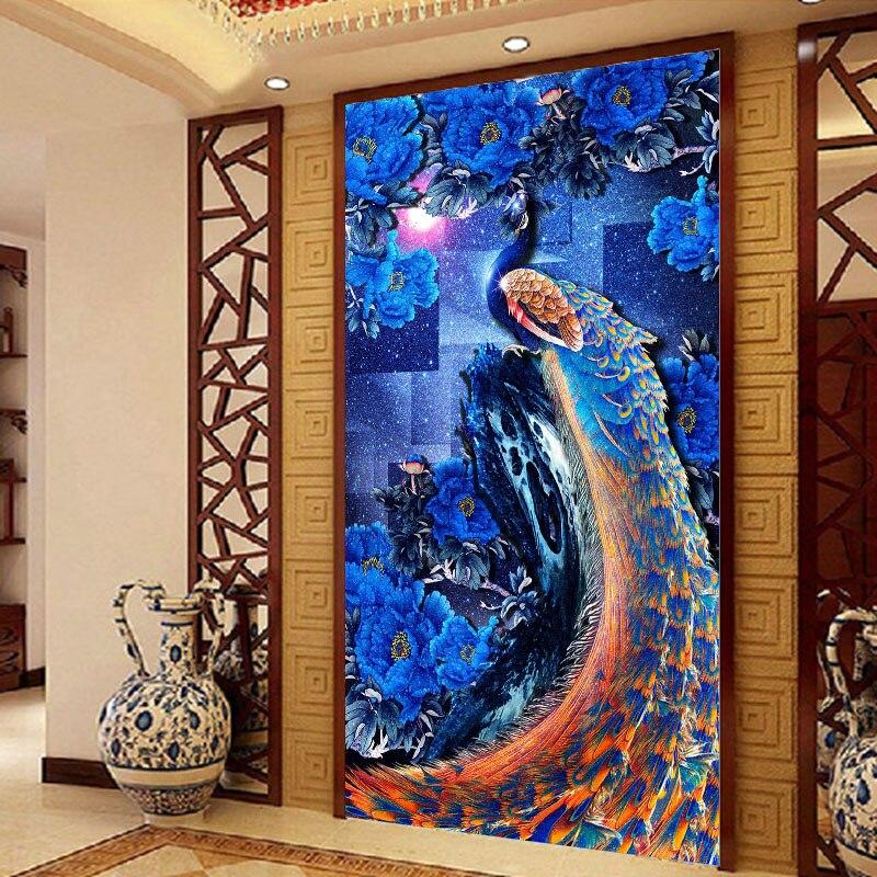 ᗛAzul rey del Pavo Real DIY resina completa redonda de diamantes ...