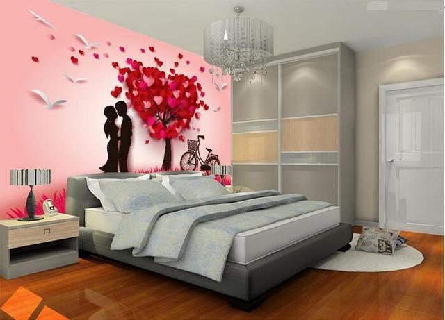 3d behang custom mural non woven 3d kamer behang cartoon liefde boom