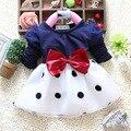 2016 Nueva Primavera de los bebés del vestido Del O-cuello de manga larga de algodón de punto arco imprimir baby girl vestidos A087