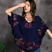 Hot Sale Vintage Ethnic Floral Blouse EMBROIDERED Shirt Clothing Vestidos Women Casual Shirt Kimono Blusas