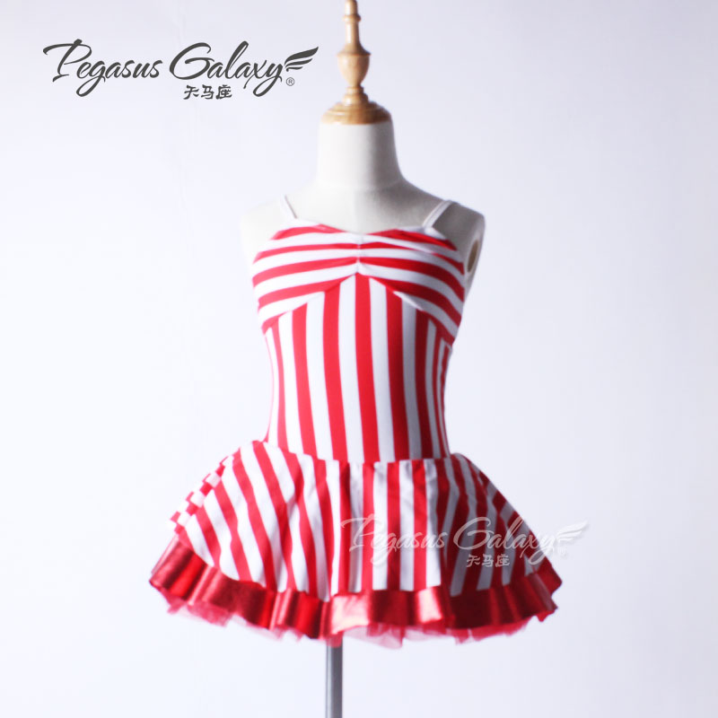 Stripe Red Sleevesless Children Ballet Clothes Classical Ballerina Costume For Kids Bodysuit Ballet Dance Dress Girls Dancewear