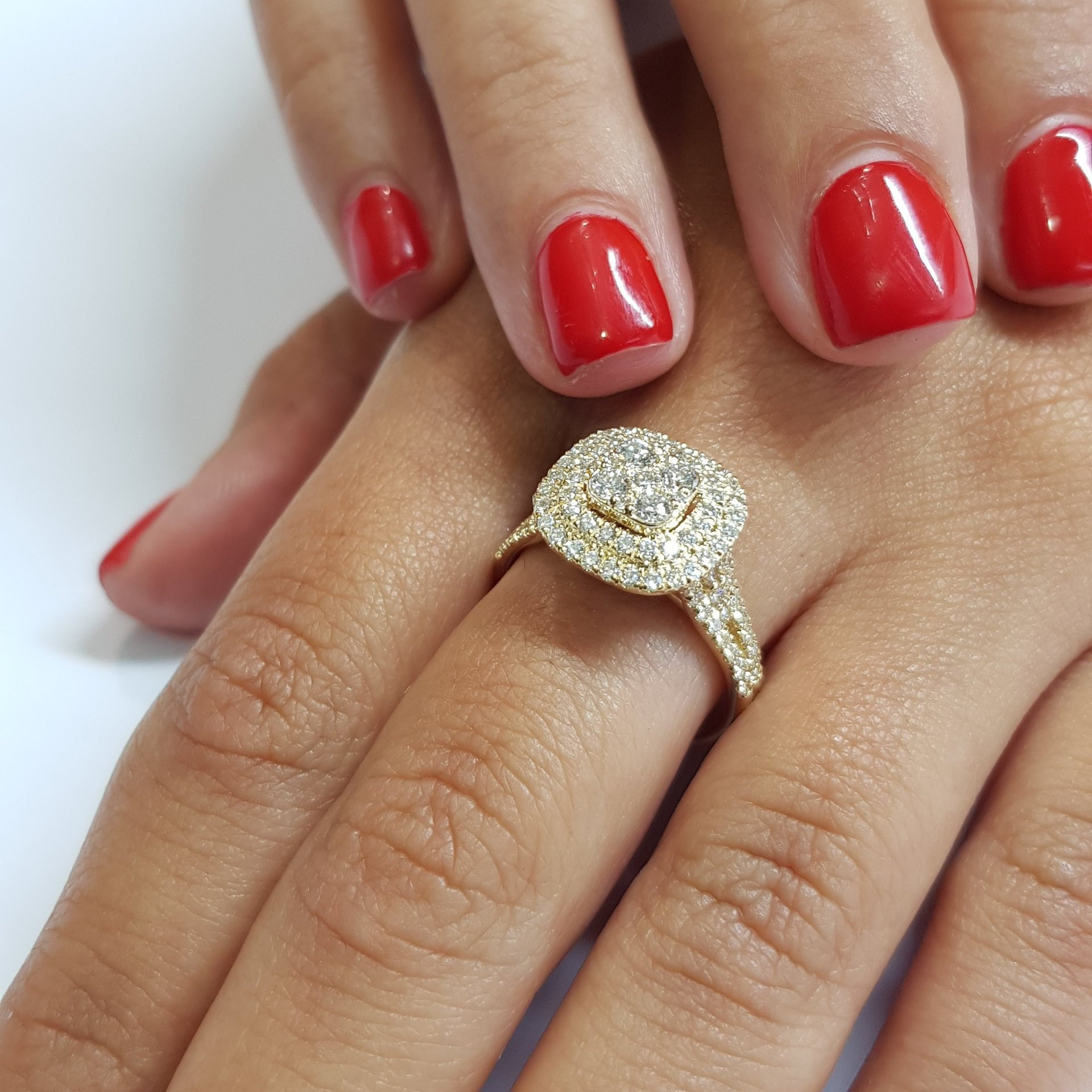14K Yellow Gold 2 Carats Diamond Ring For Women Men Square Bizuteria Gemstone Jewelry Wedding Party Diamond Rings For Female