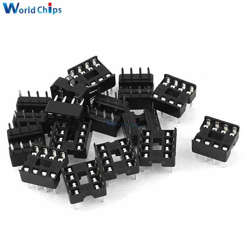 20 Pcs 2.54 Mm 8 Pin 8 Pin Dip-8 8DIP 8 Dip Ic Sockets Adapter Solder Type