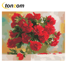 RIHE Red Flower Vase Diy Painting By Numbers Oil Painting On Canvas Hand Painted Cuadros Decoracion Acrylic Paint Home Art