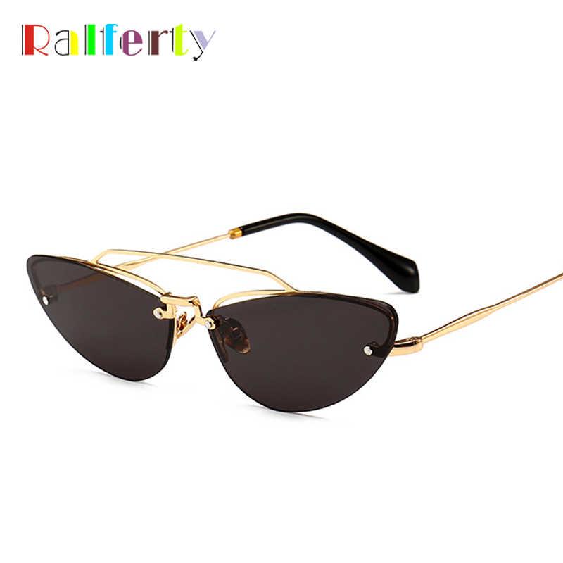 Ralferty Vintage gato ojo gafas de sol mujer marca diseñador Retro Cateye  gafas de sol UV400 3c5c53352dff