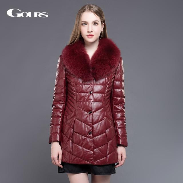 e0948270990 Gours Women Genuine Leather Duck Down Coat Wine red Sheepskin Long Overcoats  Winter Warm Parka with Fox Fur Collar Plus Size 5XL