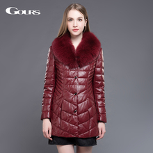 Gours Women Genuine Leather Duck Down Coat Wine red Sheepskin Long Overcoats Winter Warm Parka with Fox Fur Collar Plus Size 5XL
