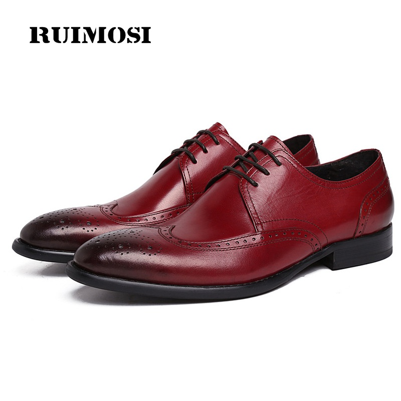 RUIMOSI New Brand Derby Man Bridal Dress Shoes Genuine Leather Vintage Brogue Oxfords Round Toe Formal Men's Wing Tip Flats BH23