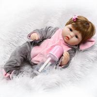 16 inches Doll Reborn Full Silicone Bebe Girl Doll Blue Eyes Child Birthday Gift Realistic Adorable Babies Born Dolls