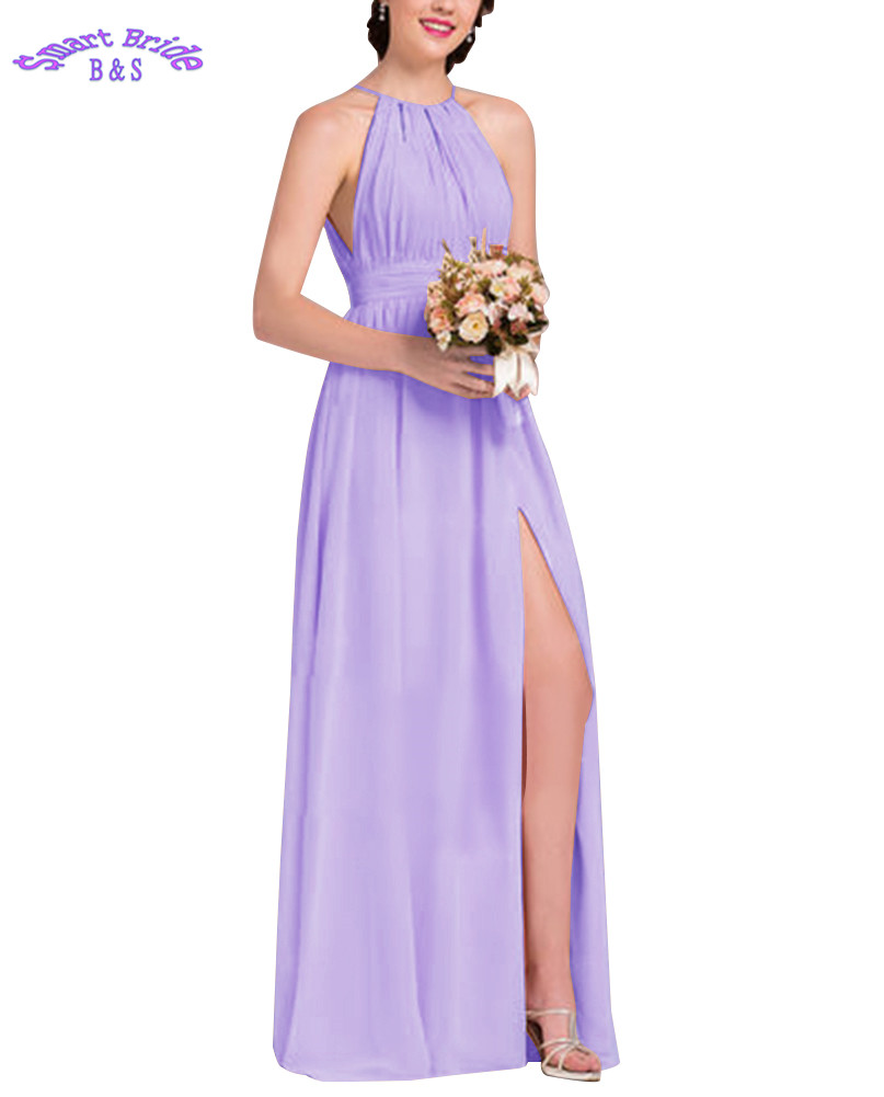 Halter   Bridesmaid     Dresses   Long for Women Chiffon Split Backless A-line Formal Wedding Party Gowns Beach Maxi   Dress   BDV6