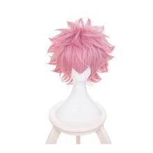 купить Boku no Hiro Akademia Mina Ashido short wig My Hero Academia Ashido Mina Pink Cosplay Wig+Wig Cap дешево