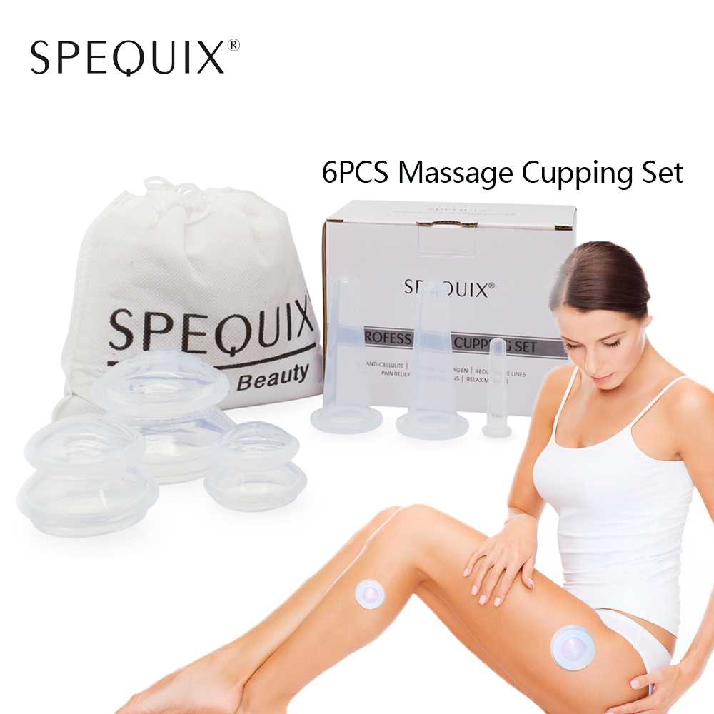 2017 New Hot Sales 6PCS 100% Silicone Cupping Cups Chinese Vacuum Therapy Massager Cup Set Health Care Anti-Cellulite Mix Size