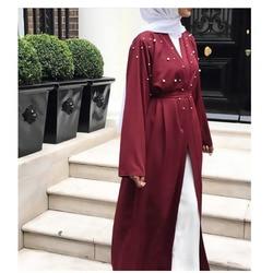فساتين مسلمة مع لؤلؤة دبي القفطان العباءة كيمونو سترة زائد حجم رداء عارضة ماكسي اللباس لينة طويلة النساء الملابس # d436