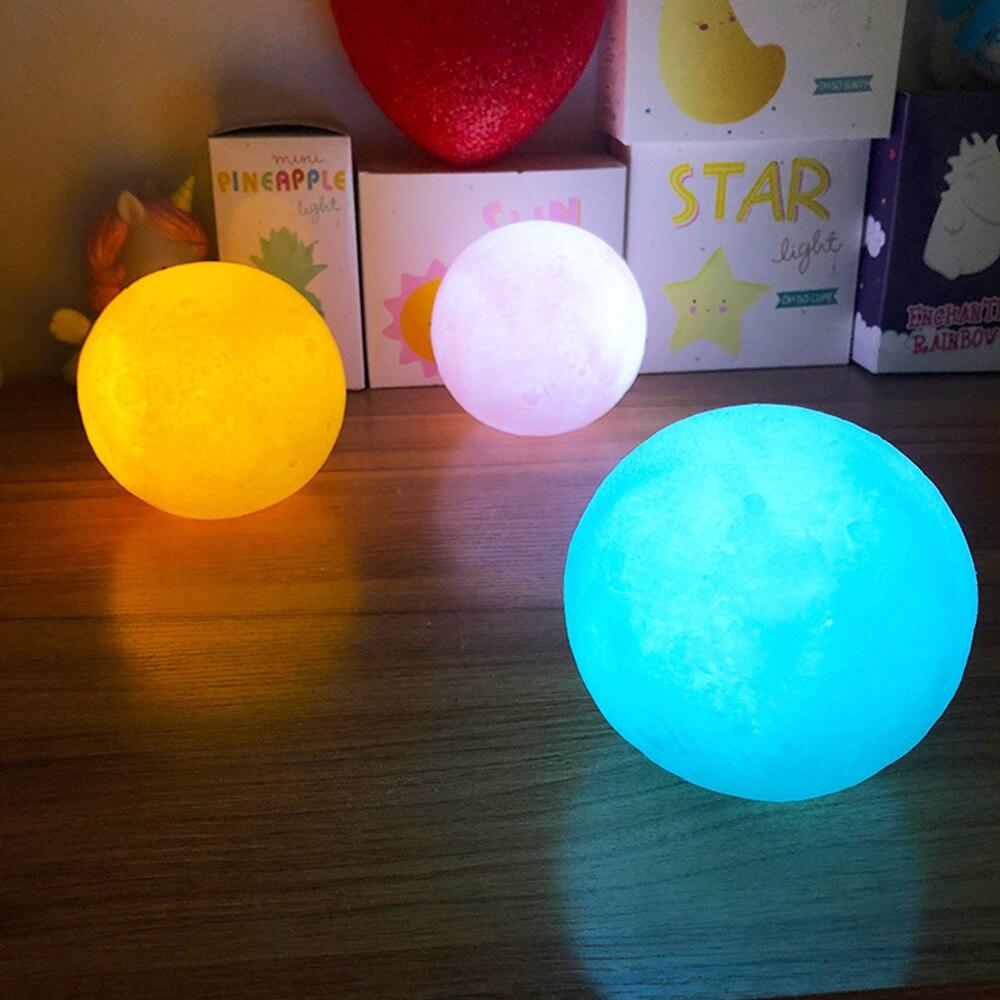 3D Moon Sleep Light Moon Light Christmas Child Gift Moon Light Powder Yellow Blue White 15/12/10/8CM Optional