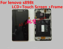 100% Original LCD Screen +  frame  For lenovo s898t  s8 MT6589T With Touch display Digitizer Assembly replacement + tools