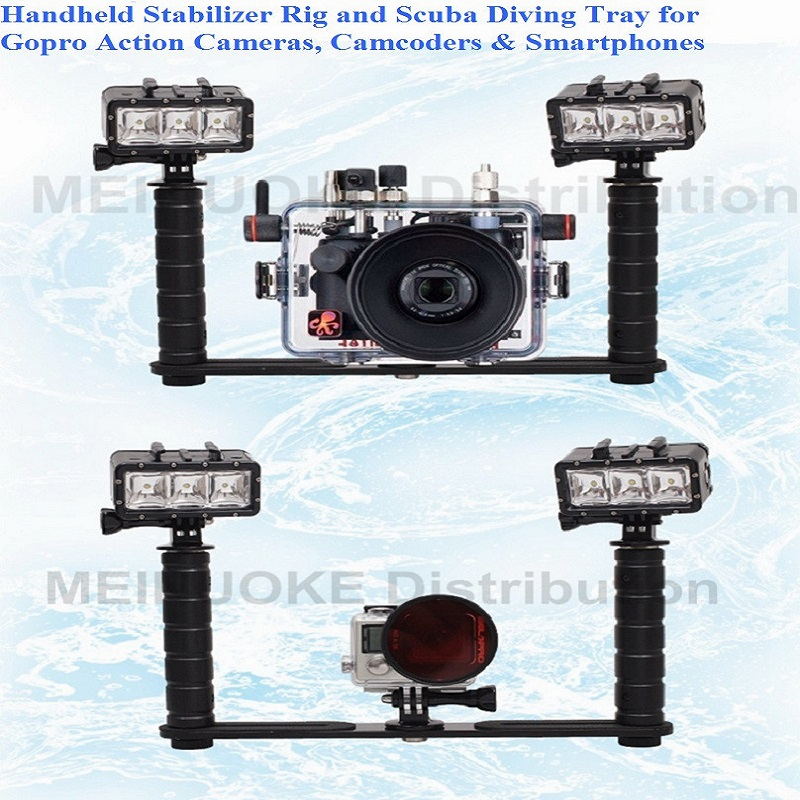 Handheld Handle Hand Grip Stabilizer Rig Underwater Scuba Diving Dive Tray Mount / LED Light For Gopro Camera SJCAM Smartphone