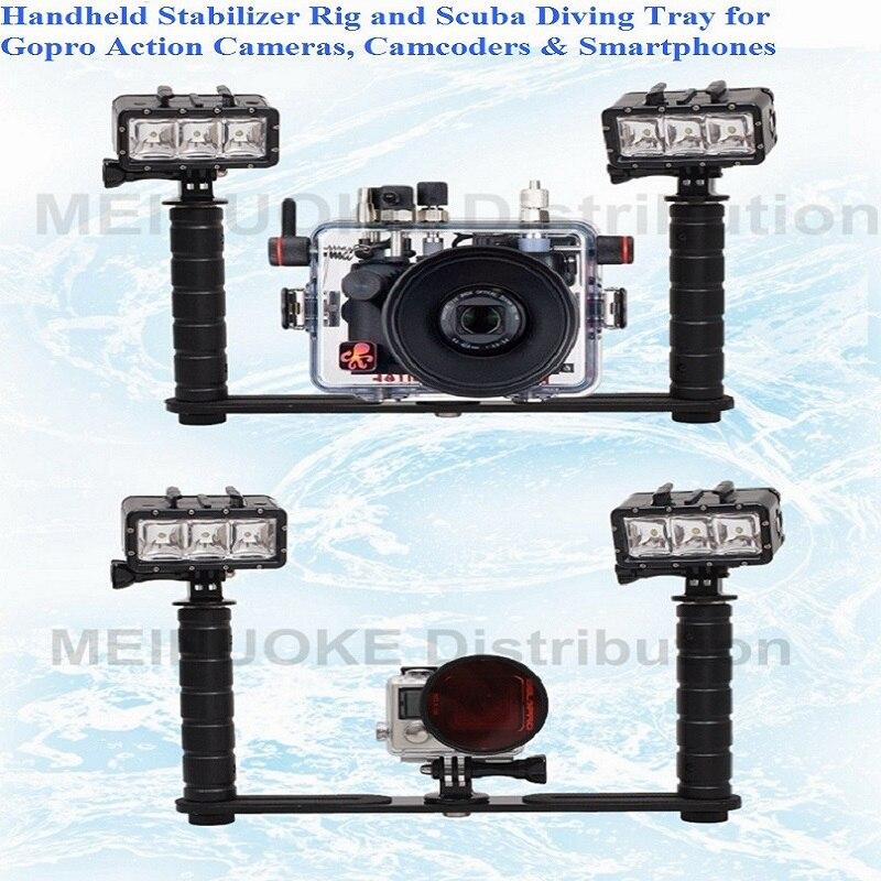 Handheld Griff Handgriff Stabilisator Rig Unterwasser Tauchen Tauch Fach Montieren/LED-Licht für Gopro Kamera SJCAM Smartphone