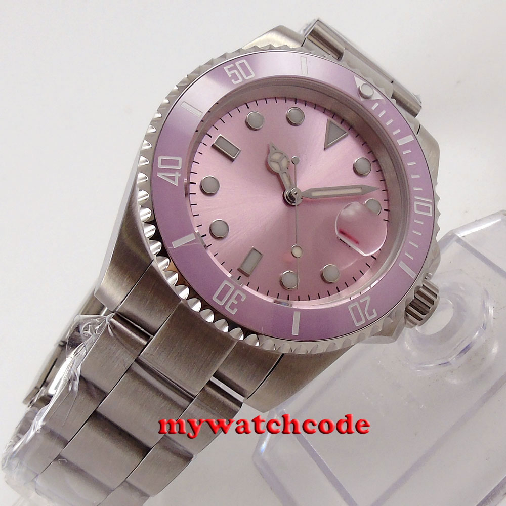 40mm pink sterile dial vintage sapphire crystal automatic movement womens watch40mm pink sterile dial vintage sapphire crystal automatic movement womens watch
