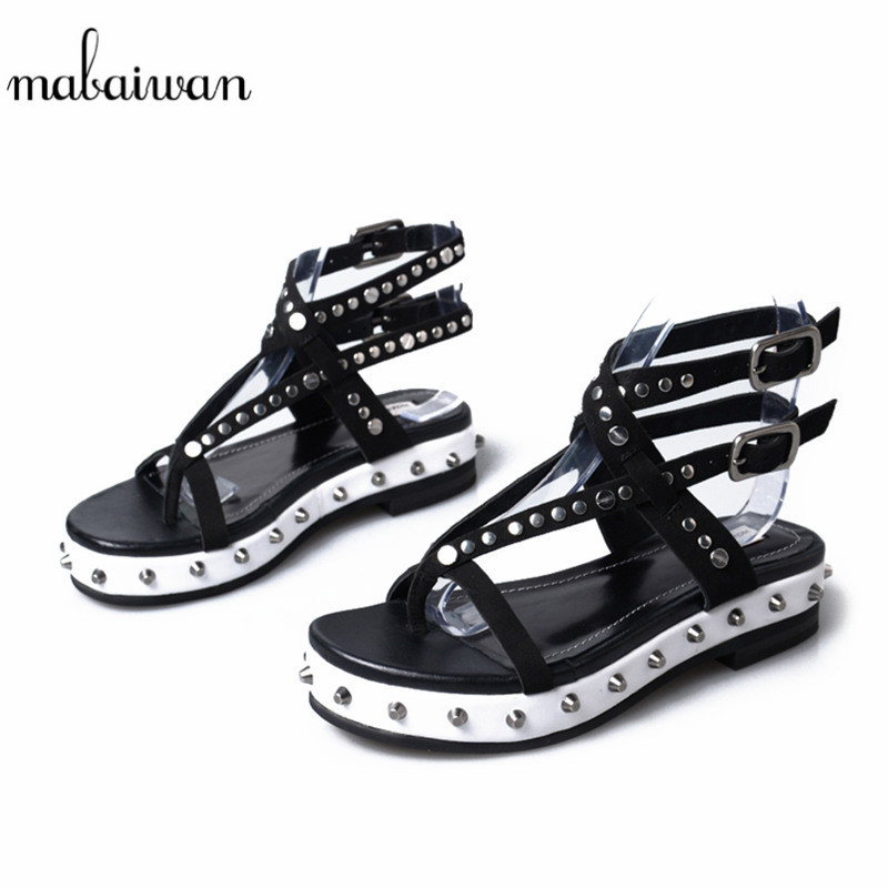 Mabaiwan New Women Shoes Genuine Leather Summer Sandals Platform Wedges Flip Flops Buckle Slippers Shoes Rivet Breathable Pumps mabaiwan women shoes genuine leather summer sandals casual platform wedge shoes woman rivets gladiator wedges breathable sandal