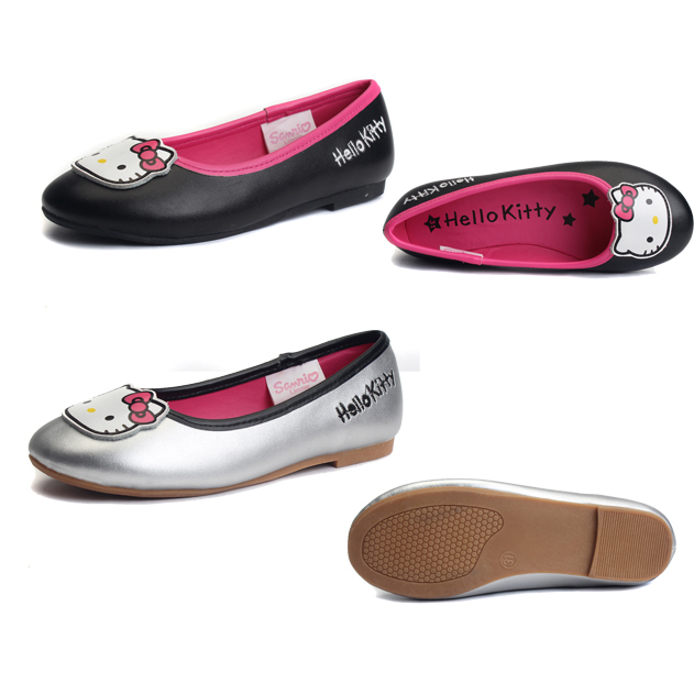 NUSKIN Hello Kitty Genuine Leather Summer Ballerina Flats Cute Princess  Kids Flats Silp On Girls Dressy Shoes Youth a91e67aec81c