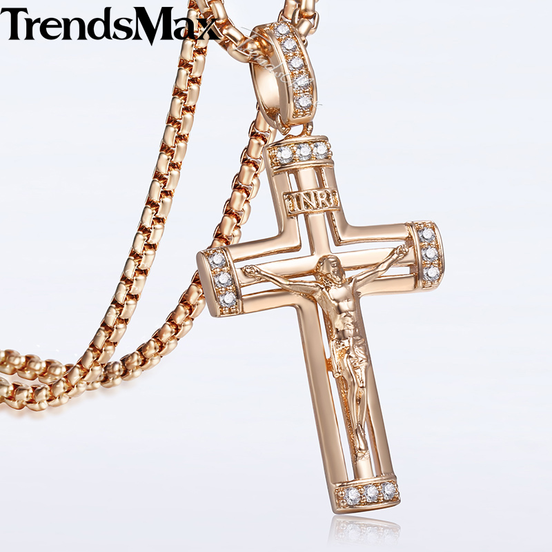 cubic zirconia jesus piece crucifix cross pendant necklace. Black Bedroom Furniture Sets. Home Design Ideas