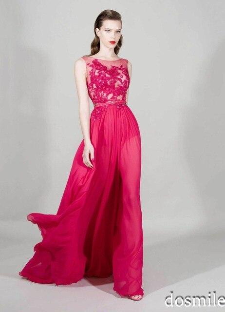 55a87b445399 2016 Zuhair murad Elegante Una Linea Peach Appliques Del Merletto Chiffon  Plus size Economici vestiti lunghi