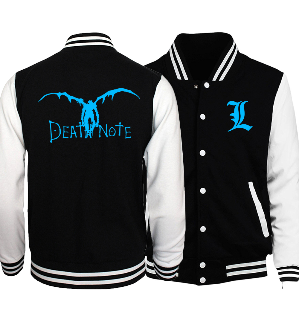 Death Note Baseball Uniform Jacket Men 2018 Japan Anime Noctilucent BLEACH Jackets Homme Night Lights Hip Hop Coat Plus Size 5XL