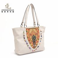 ethnic style handbag embroidery PU leather shoulder bag black/white women large national embroidery beading lace bags