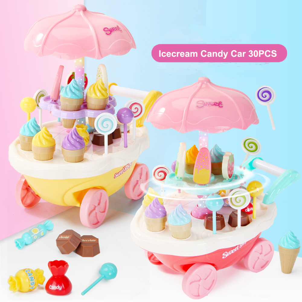 Capable Ice Cream Cart Candy Dessert Shop Food Toy Pretend Toy Set Role Play Xmas Gift Durable In Use Toys For Baby