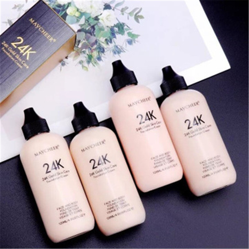 24K Moisturizing Long Lasting Liquid Face Foundation Makeup Face Coverage Naturally Concealer Oil-controling Lightfeel Cream 5