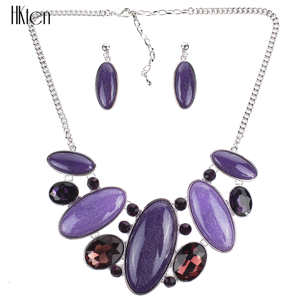 MS1504190 Fashion Purple Jewelry Sets Woman's Necklace Earring Set Wedding Jewelry Sets New High Quality Party Gifts