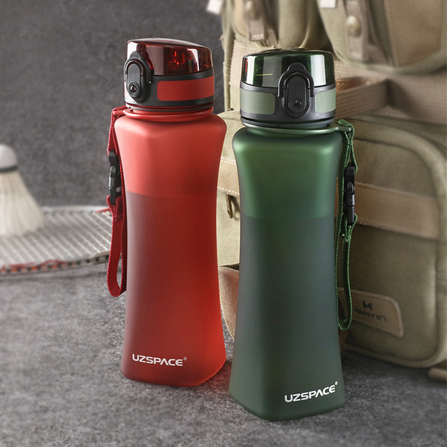 UZSPACE Sports Water Bottles 500ml Fashion 6 Colors Protein Shaker Hiking Travel My Bottle For Water Plastic Drinkware BPA Free 4
