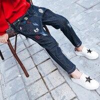 Trousers Spring Fall Fashion Girls Korean Children Embroidered Jeans Baby Kids Pants Dark Blue Denim