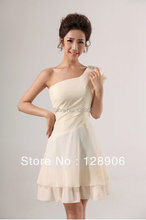 High Quality Short Design Ivory Bridesmaid Dresses Sexy One Shoulder Ruffles Formal Wedding Party Gowns 2016