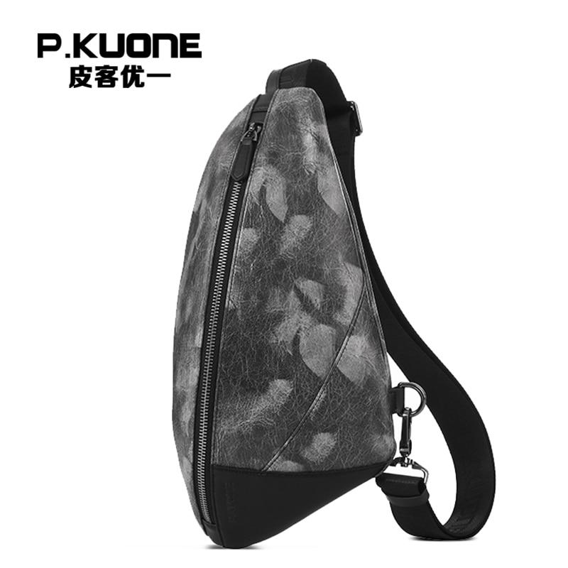 P.KUONE Men Leather Chest Pack Brand Designer High Quality Shoulder Bag Male Chest Bag Travel Messenger Bag Cell Phone Pocket contrast panel chest pocket tee