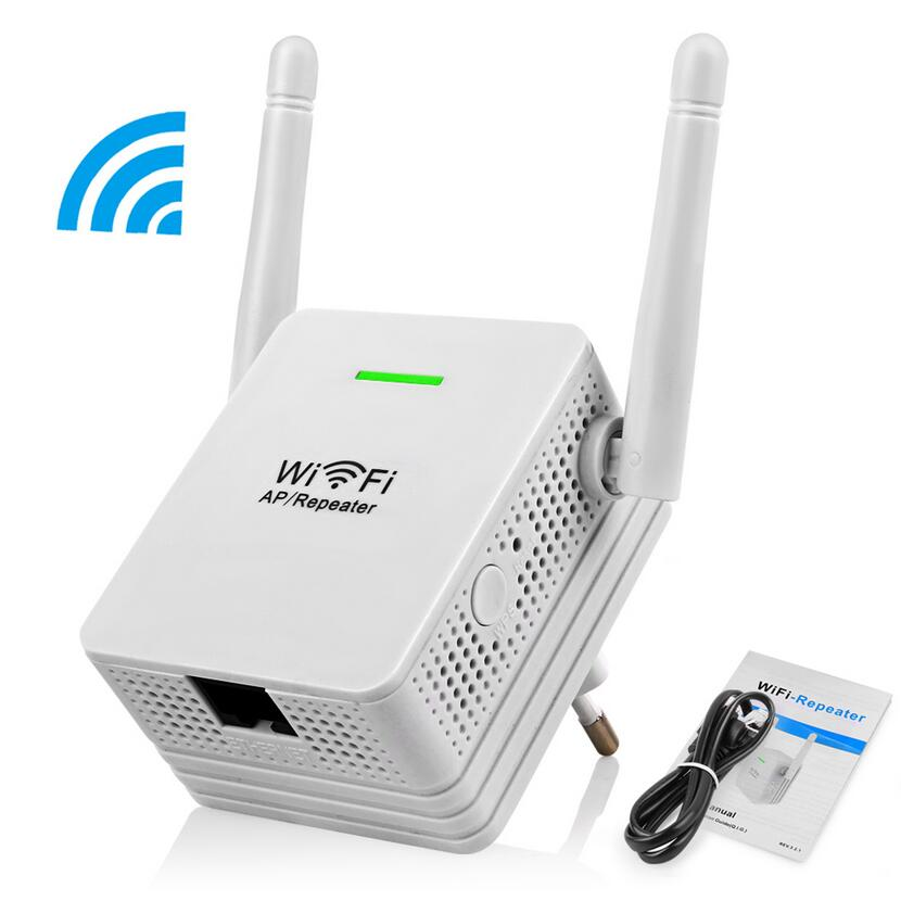 Wireless Repeater 300Mbps Network Router WiFi Signal Range Extender Booster Dual 2 DB Antennas US Plug 110V- 220V
