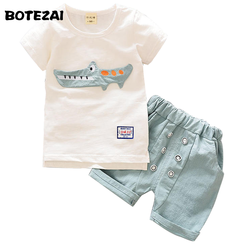 Baby Boys Clothes Set 2017 Summer Kids Boy Clothes Top+Shorts Children Cartoon Casual Sport Suit Toddler Boys Clothing Sets