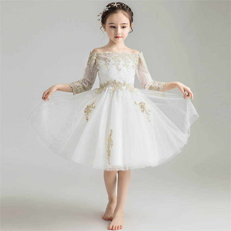 Children Girls Luxury Shoulderless Collar Birthday Wedding Party Dress High Quality Embroidery Lace Dress For Piano Costume цена