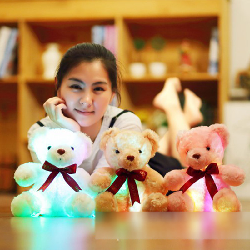 Cute Luminous Bear Juguetes 25cm LED Flash Colorful Soft Plush Stuffed Animal Doll girls Toys for Children Birthday gift best girl toys 2017